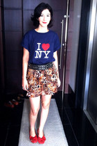 navy ny unknown t-shirt - camel leopard print unknown brand skirt