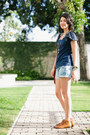 Navy-shoulder-detail-maria-fil-t-shirt-sky-blue-denim-farm-shorts
