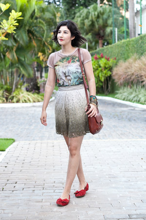 heather gray ombre Richards skirt - brown leather Firenze bag