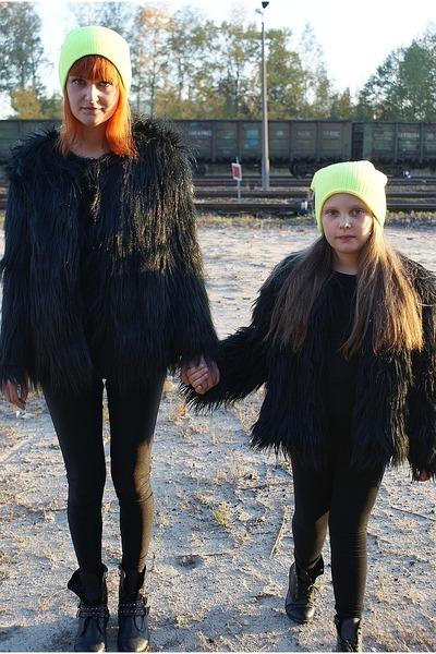 faux fur River Island coat - faux fur Ebay coat - neon Topman hat