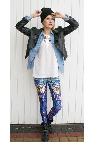 biker H&M jacket - glass owl Black Milk leggings