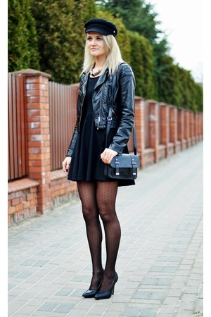 black vintage dress - black vintage hat - black H&M jacket