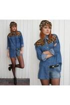 leopard print DIY hat - leopard print DIY shirt - denim H&M shorts
