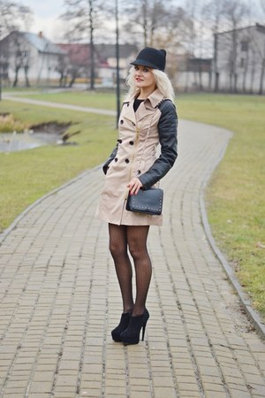 black cat ear Ebay hat - beige buttons unknown coat - black studded Mohito bag