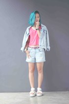 light blue denim jacket Topshop jacket - salmon cropped Forever 21 shirt