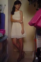 white thrifted dress - beige tony bianco shoes - white diva accessories - white 