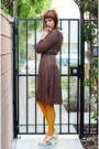 Brown-vintage-dress-mustard-gap-tights