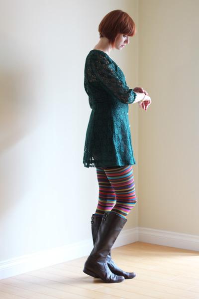 forest green lace vintage dress - dark brown leather AK Anne Klein boots