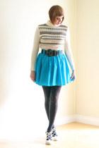 turquoise blue vintage skirt - ivory vintage sweater