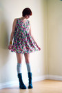 Silver-h-m-socks-black-soda-boots-hot-pink-vintage-dress