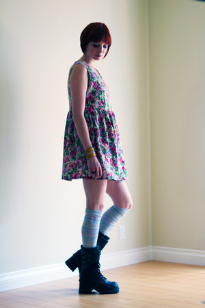 black Soda boots - hot pink vintage dress - silver H&M socks