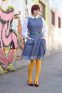 Maroon-thrifted-vintage-shoes-blue-eshakti-dress-gold-we-love-colors-tights