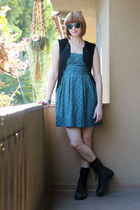 teal H&M dress - black altama boots - white H&M sunglasses