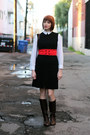 Dark-brown-ak-anne-klein-boots-navy-vintage-dress-white-bird-blouse