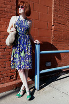 blue vintage dress - hot pink vintage sunglasses