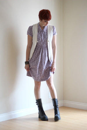 light purple cotton vintage dress - black Soda boots