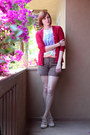 dark brown H&M shorts - ruby red vintage cardigan