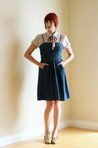 white vintage blouse - navy dress - pink vintage scarf - gold Bass flats