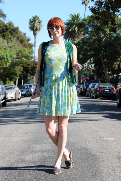 green vintage vest - light blue vintage dress - gray vintage flats