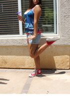 light blue Forever 21 shorts - red Converse shoes - silver Forever 21 necklace