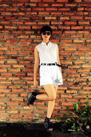 white Kenneth Cole shirt - white shorts Ocean Pacific shorts