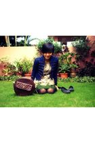 blue jacket - beige dress - brown accessories - black shoes