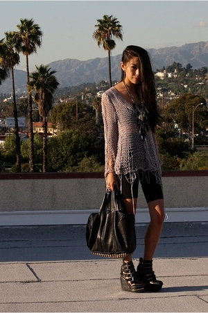 barak tokyo sweater - Jeffrey Campbell shoes - leggings - Alexander Wang purse