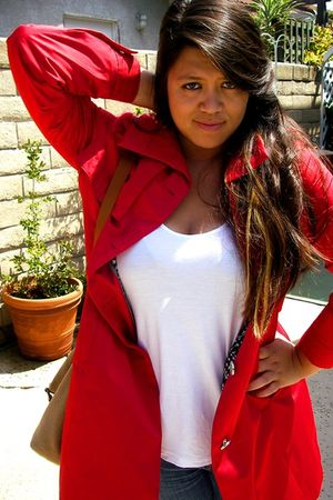 red calvin klein coat - white Old Navy top - blue the gap jeans - brown the gap