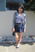 blue striped tank Forever 21 shirt - black bow flats AE by Payless shoes