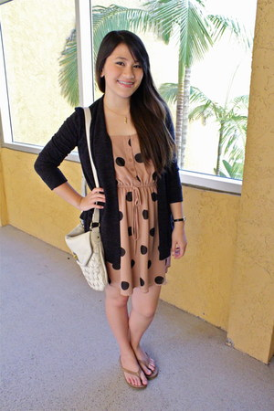 polka dot dress Forever 21 dress - Forever 21 bag - Ross cardigan - Uggs sandals