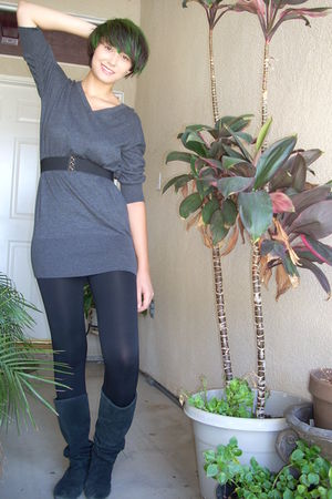 gray BCBG dress - black Forever 21 belt - black INC leggings - black Steve Madde