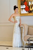 gold sparkle Adrianna Papell dress