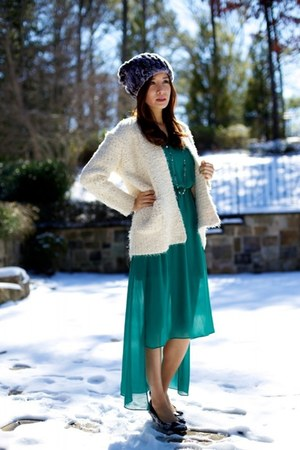 Sisley cardigan - Salvatore Ferragamo shoes - Egoist dress