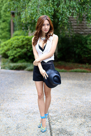 rag & bone hat - Prada shoes - rag & bone shorts - Bebe vest