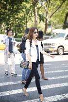 7 for all mankind jacket - J Brand jeans - Chanel bag - Manolo Blahnik pumps