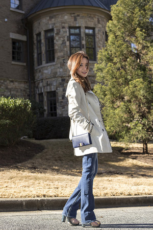 Burberry jacket - True Religion jeans - Salvatore Ferragamo bag - Gap blouse