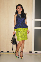 yellow lace peplum Topshop skirt - alma bb in epi Louis Vuitton bag - Zara heels
