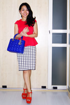 blue dior bag - off white Forever 21 skirt - red Topshop top