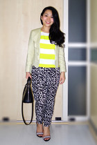 light yellow scallop lapel Topshop jacket - black printed Forever 21 pants