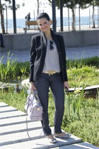 TODs bag - Valentino Red jeans - Max Mara jacket - Linda Farrow Luxe sunglasses