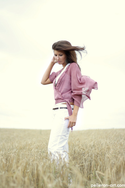 white reserved pants - white camaieu top - light pink Dorothy Perkins blouse