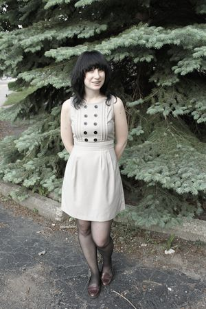 beige Rouche dress - gray CVS tights - brown alloy shoes