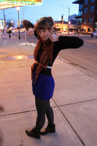 dark brown grannie boots Kmart boots - blue color block Forever 21 dress - dark