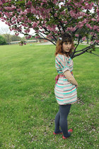 turquoise blue striped modcloth dress - charcoal gray Payless tights - coral wor