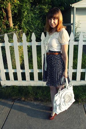 navy bow thrifted skirt - cream ruffled Forever 21 shirt - white flower gift bag