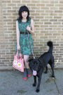 Green-thrifted-dress-red-target-purse-gray-target-socks-red-payless-shoes