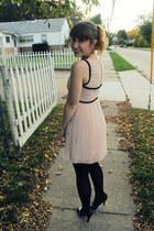 light pink pleated modcloth dress - dark brown plaid gift coat