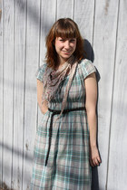 olive green plaid gift dress - beige floral print Target scarf - dark gray Forev