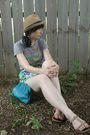 Beige-target-hat-gray-hot-topic-t-shirt-green-target-skirt-green-gift-purs