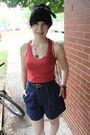 Red-target-top-blue-thrifted-shorts-green-target-shoes-gray-forever-21-bel